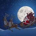 Illustration für eine Online Weihnachtskarte - Weihnachtsmann reitet auf Schlitten durch die Nacht - Kunde: Nutrillite