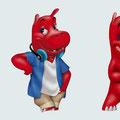 Character-Design Nilpferd - verschiedene Posen - Kunde: Dickie Toys