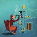 Titel-Illustration - Magazin: Mensch & Büro - Thema: Möbel online kaufen