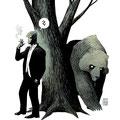 Illustration Wahrzeichen Madrid - Motiv: Bär, Baum und Hector Umbra - Kunde: Comiccon Madrid 2012