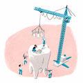 Vignetten-Illustration für das Magazin Finanztest (Stiftung Warentest) - Thema: Zahnzusatzversicherung
