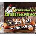 Aufkleber für Eierpackung  Wutzldorfer Hühnerbox in Wald