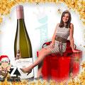 Aufkleber für Flaschen mit der Pfälzer Weinkönigin Inga Storck
