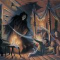 Harry, Ron et Hermione rencontrant Sirius Black dans la Cabane Hurlante (Tome 3)