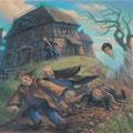 Harry effraie Malefoy, Crabbe et Goyle avec sa cape d'invisibilité à Pré au Lard (Tome 3)
