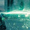 Voldemort (Ralph Fiennes) lançant  le sortilège de la Mort (Avada Kedavra)