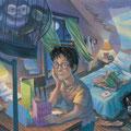 Harry lisant ses lettres d'anniversaires dans sa chambre de Privet Drive