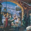 Harry, Ron et Hermione buvant une Bièraubeurre à Pré au Lard