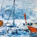 Hafen, Öl auf Hartfaser, 85,5 x 122 cm