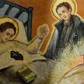 Der heilige Gabriel Possenti besucht und tröstet die kranke Gemma.
