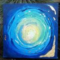 """""""Wasser und Gold"""", Acryl auf Leinwand, Struktur, Blattgold, 30x30 cm -VERKAUFT-"""