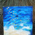 """""""Wasser und Gold"""", Acryl auf Leinwand, Struktur, Blattgold, 20x20 cm - VERKAUFT-"""
