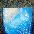 """""""Wasser und Gold"""", Acryl auf Leinwand, Struktur, Blattgold, 20x20 cm -VERKAUFT-"""