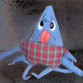 Giant Squid's child:CHAPS / 大王イカの子供:チャップス ★なかなかおしゃぶりを止めることが出来ず、すでにしゃぶりすぎた自分の足(しお味)の1本は、ほとんど無くなりかけている。  夏はモーイイ海、冬はマーダダ洋と、親子で回遊している。  最近友達になったマッコウくじらのエールくんの鼻先にしがみ付くことがマイブームらしい。     Q:将来の夢は?  A:立派なクラーケンになって、色々な船を沈めたいです♪