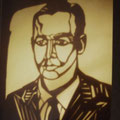 Papierschnitt nach einem Portrait von damals