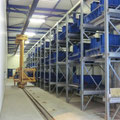 Estanterías almacenaje moldes prefabricados hormigón