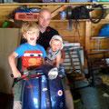 Finn, Robin und Jochen auf Knopfs Automatik Lambretta