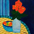 Stilleben mit roten Blumen, 2008 – Acryl auf Leinwand, 30x30 cm