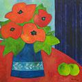 Mohnblumenstrauss und grüne Äpfel, 2012 – Acryl auf Leinwand, 60x60 cm