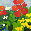 Blühender Garten, oD – Acryl auf Leinwand, 60x60 cm