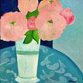 Blumen im blauen Zimmer, oD – Acryl auf Leinwand, 40x40 cm
