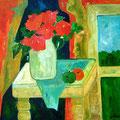 Zimmer mit Blumenstrauss, undatiert – Acryl auf Leinwand, 60x50cm