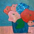 Blumen in blauer Vase. undatiert – Acryl auf Malkarton, 40x40cm