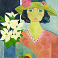 Dame mit Hut, 2015 – Acryl auf Leinwand, 50x60 cm