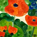 Rote Blumen 2, 2010 – Aquarell auf Papier, 30x30 cm