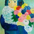 Blumenmädchen, undatiert – Acryl auf Malkarton, 60x80cm