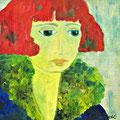 Frauenporträt, undatiert – Acryl auf Malkarton, 30x30cm