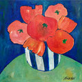 Roter Blumenstrauss, undatiert – Acryl auf Malkarton, 40x40cm
