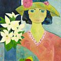 Dame mit Hut, 2015 – Acryl auf Leinwand, 50x60cm