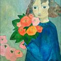 Mädchen mit roten Blumen, undatiert – Acryl auf Leinwand, 60x60cm