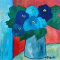 Blaue Blumen, undatiert – Acryl auf Leinwand, 30x30cm