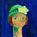 Luisa mit grünem Hut, 2009 – Acryl auf Leinwand, 40x40 cm