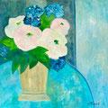 Strauss mit weissen Blüten, undatiert – Acryl auf Leinwand, 80x80cm