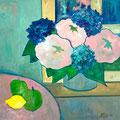 Blumenstrauss am Fenster, undatiert – Acryl auf Leinwand, 50x50cm