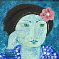 Frau mit Béret, 2010 – Acryl auf Leinwand, 30x30 cm