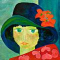 Mädchen mit Hut, 2010 – Acryl auf Malkarton, 50x50 cm