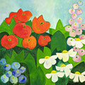 Sommerblumen, oD – Acryl auf Leinwand, 50x50 cm