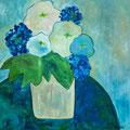 Strauss mit Hortensien, undatiert – Acryl auf Leinwand, 60x60cm