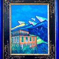 Berghotel, 2017 – Öl auf Malkarton in altem Rahmen, 60x80cm