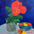 Rote Blumen mit Früchteschale, undatiert – Acryl auf Leinwand, 60x60cm