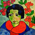 Elena mit rotem Schal, 2005 – Acryl auf Leinwand, 50x50 cm