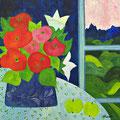 Blumenstrauss vor Fenster, oD – Acryl auf Leinwand, 50x50 cm