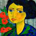 Signora mit roten Blumen, 2008 – Acryl auf Leinwand, 15x15cm