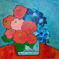 Blumen auf rotem Tisch, undatiert – Acryl auf Leinwand, 40x40cm