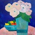 Rosa Strauss mit Früchteschale, undatiert – Acryl auf Leinwand, 60x60cm