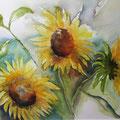 """Aquarell """"Sonnenblumen"""" von Diplom Designerin Brigitte Weiand"""